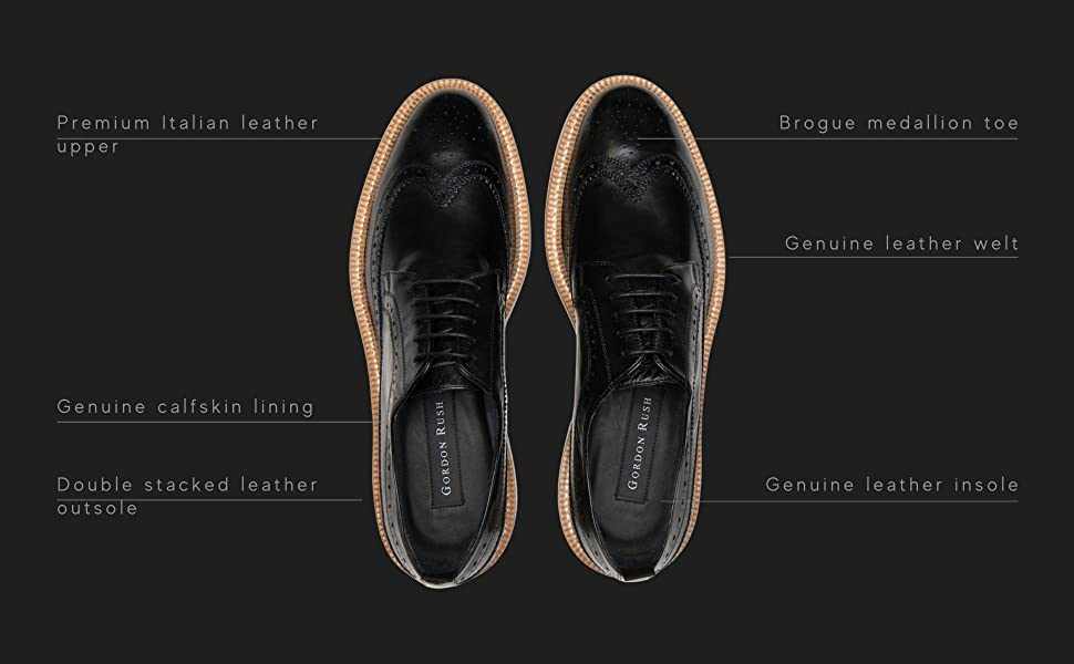 Details of materials in the Bryce wingtip oxford by Gordon Rush