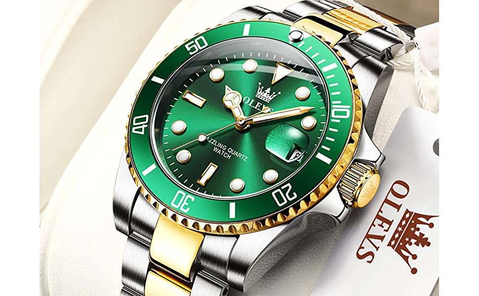olevs luxury watch men brand green gold