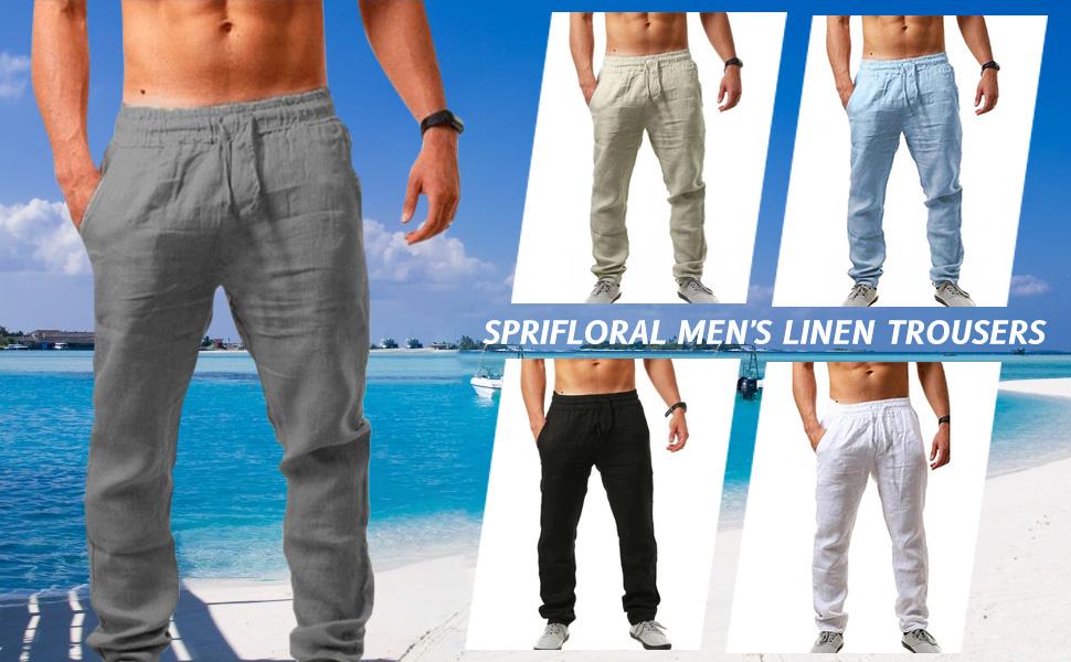 Sprifloral Men's Linen Trousers