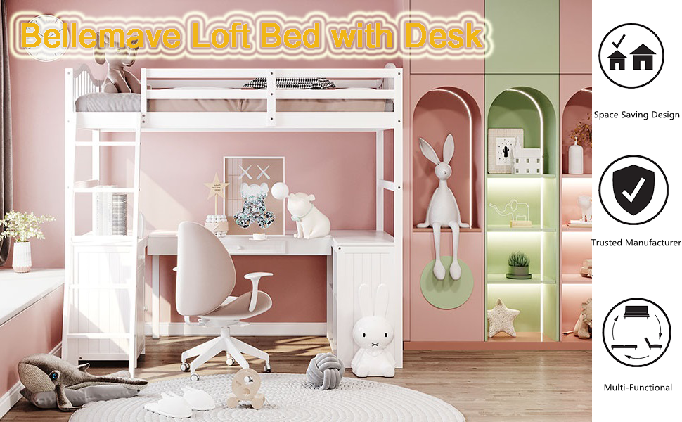 Wood loft bed bellemave