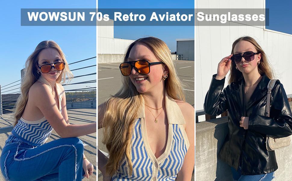 Vintage retro 70s aviator sunglasses for women men