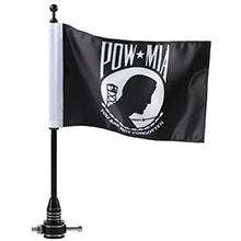 Harley Motorcycle flag US PowMIA Flag with black flagpole
