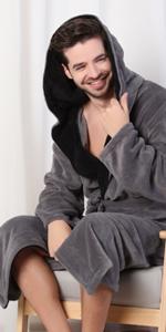 KEMUSI Hood Mens Grey Full Length Bathrobe