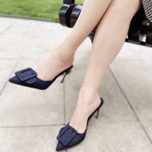 Blue denim kitten heels