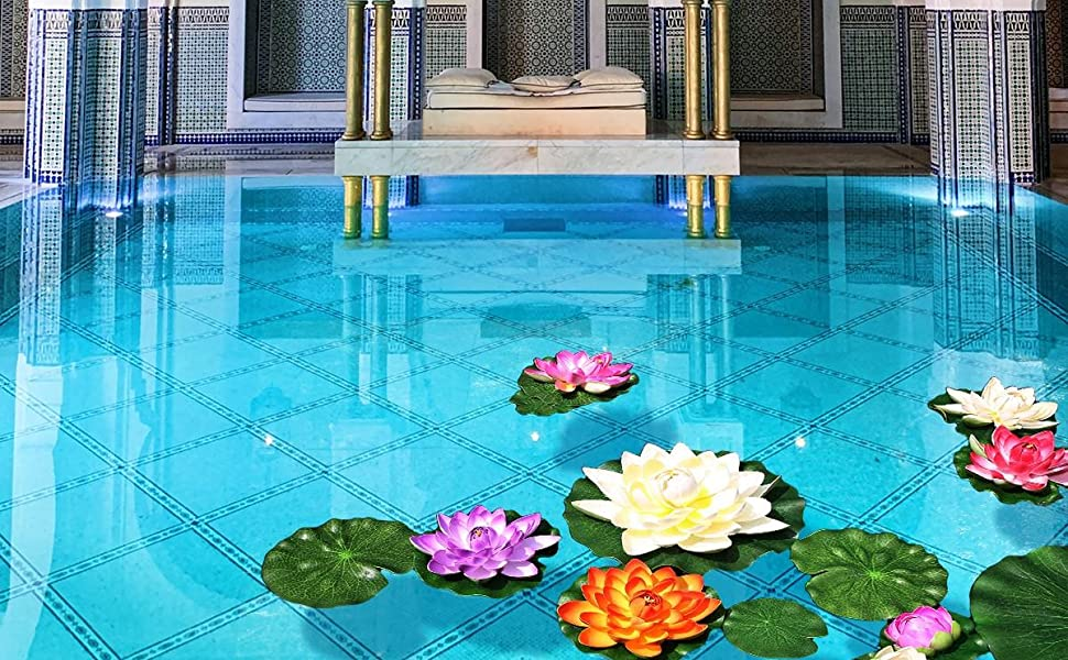 lily pads artificial lotus flower plant koi fish pond deocoration