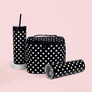 kate spade new york, lunch tote, tumbler, thermal, polka dot collection