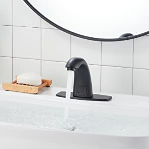 YBlucklly Automatic Sensor Touchless Bathroom Sink Faucet with Hole Cover Plate DC Powered