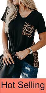 Women leopard short sleeve tops