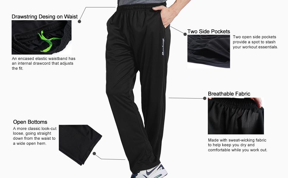 mens sweatpants open bottoms