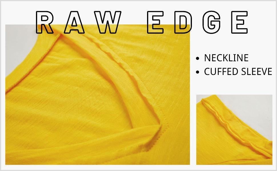 raw edge t shirt for women