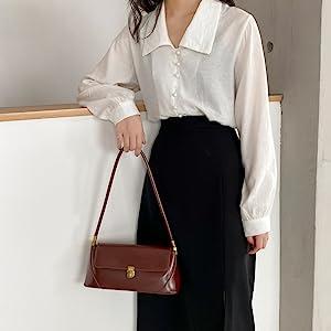 Women Vintage Shoulder Bag Clutch Handbag Underarm Bag Retro Classic Purse with Buckle Closure