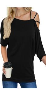 Women's Off Shoulder Strappy T Shirts Tunic Casual Basic Tops Blouse Shirts