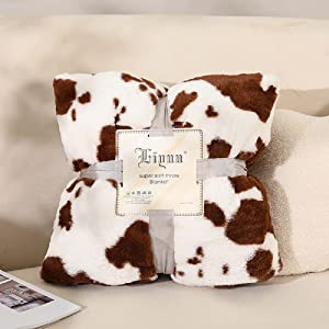 brown white cow print blanket for couch sofa chair