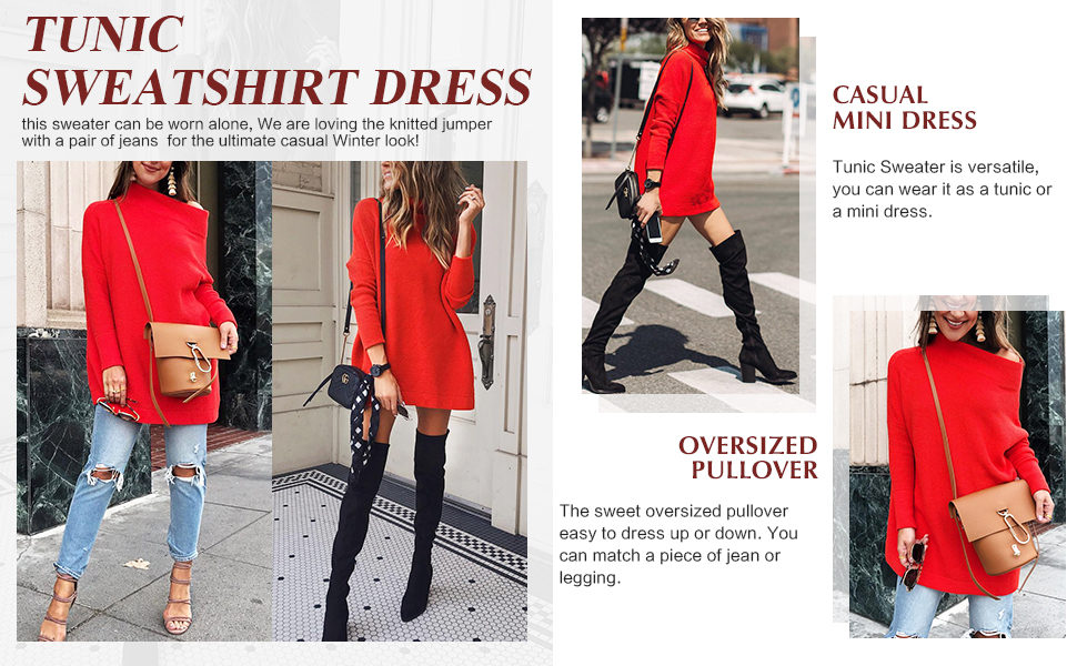ANRABESS Women's Turtleneck Sweaters Long Batwing Sleeve Oversized Chunky Knitted Tunic Dress