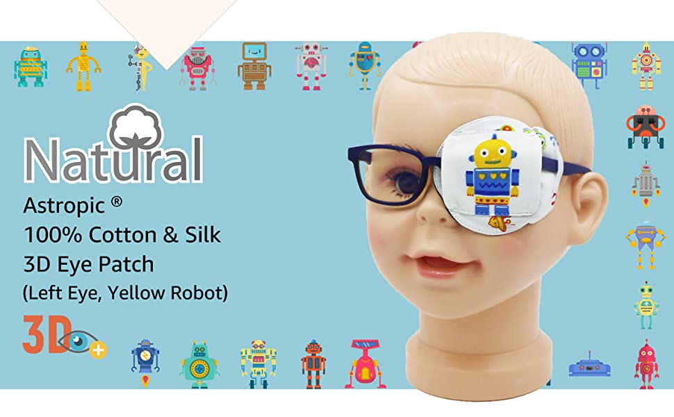 3D silk eye patch for kids boys glasses blue red yellow robot astronaut space rocket left eye