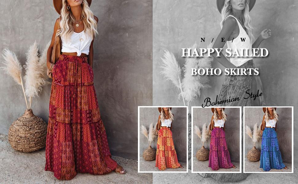 bohemian style beach skirts