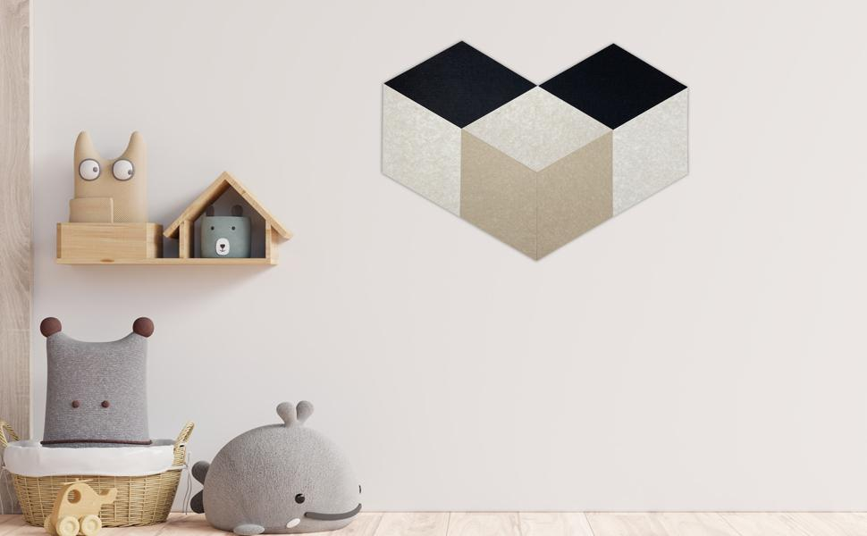 decorative acoustic panels in rhombus pattern