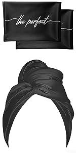 Black Microfiber Hair Towel with 2 Scrunching Towels