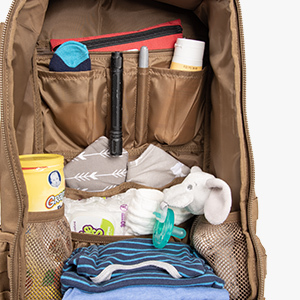 Diaper Bag Interior with Baby Items Organized Into Pockets