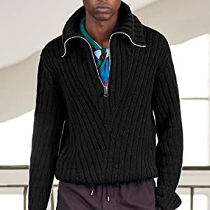 Conmite Mens Long Sleeve Ribbed Slim Fit Knitted Pullover Turtleneck Sweater with Zipper