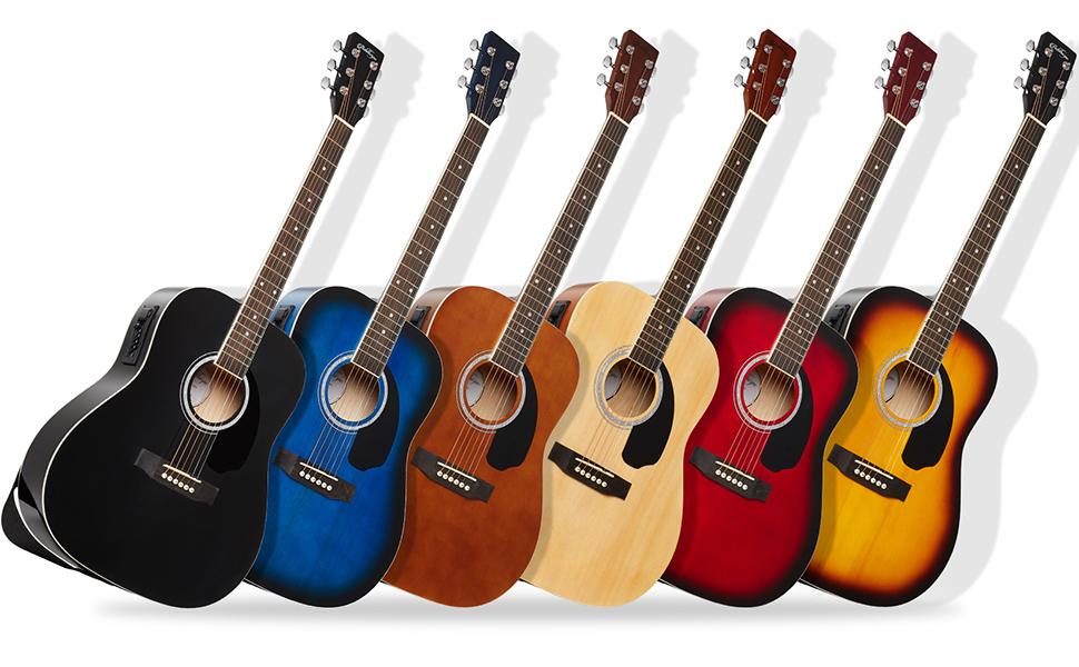 dreadnought style Ashthorpe acoustic-electric guitars, black, blue, brown, natural, red, sunburst