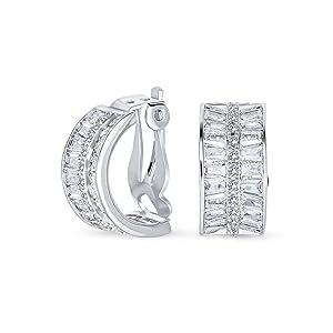 Art Deco Style Bridal Statement AAA CZ Half Hoop Baguette Earrings Clip On Silver Plated