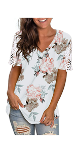 Womens V Neck Flower Short Sleeve T Shirts Loose Fit Tees Shirts