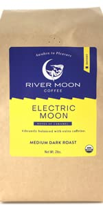 Electric moon ground coffee 2 lb 2lbs 32 oz high caffeine caff robusta arabica river moon