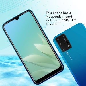 This phone has 3 independent card slots for 2 * SIM, 1 * TF card