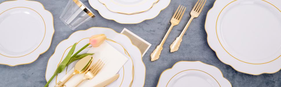 gold disposable plastic plates