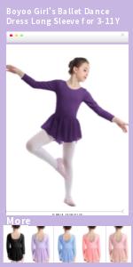 Boyoo Girls Ballet Dance Dress Long Sleeve for 3-11 Y