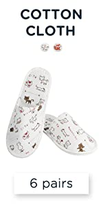 6 Pairs Cotton Cloth Cute Disposable Slippers