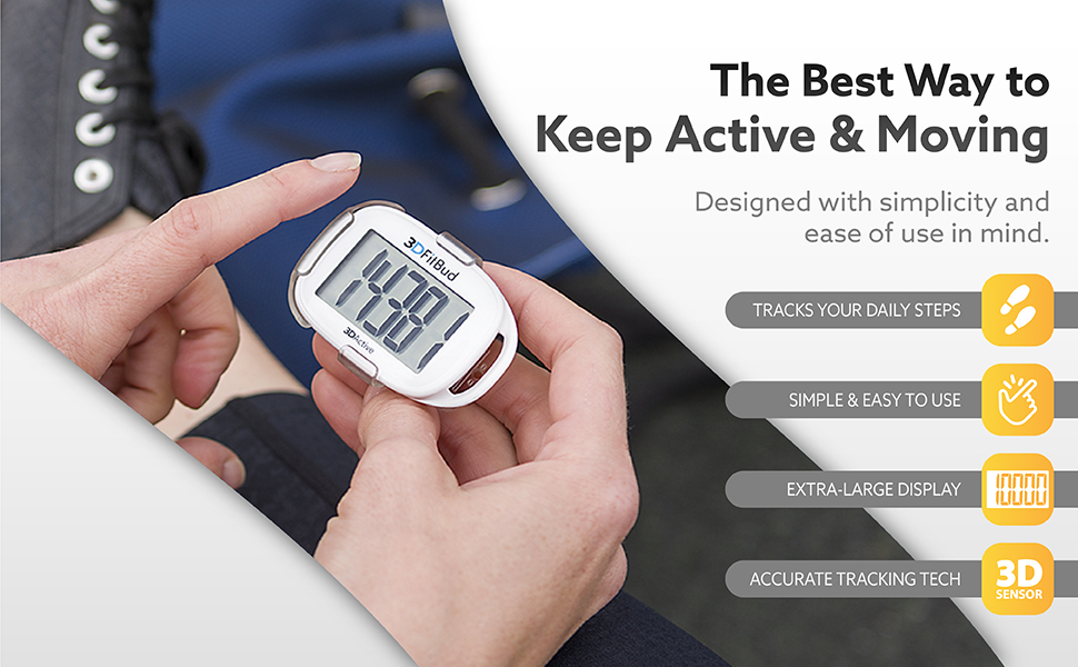 Tracks your daily steps. Simple & easy to use. Extra large display. Accurate tracking tech.