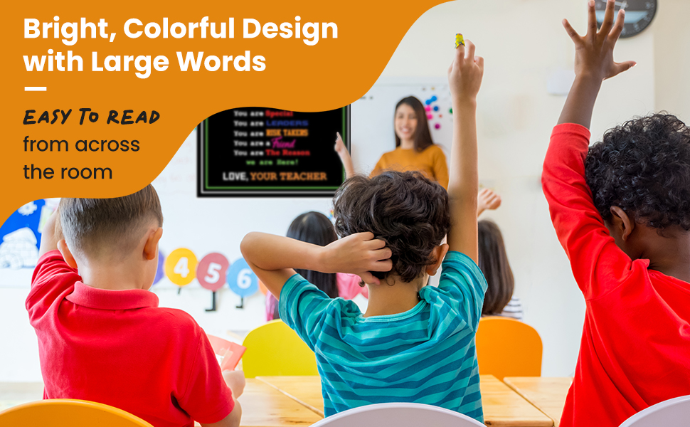 Bright, Colorful Design with Large Words Easy to Read from Across the Room