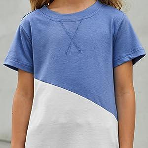 Crewneck Short Sleeve Loose Blouse Tunic Tops