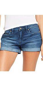 luvamia Women's Casual Denim Shorts Folded Hem Ripped Jeans Shorts