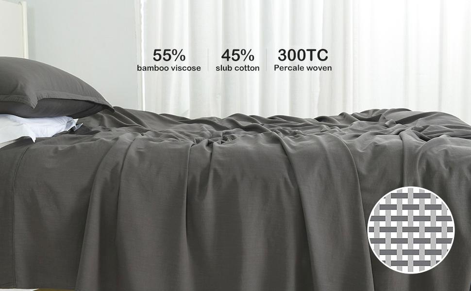 charcoal grey bamboo cotton linen sheets set (1)