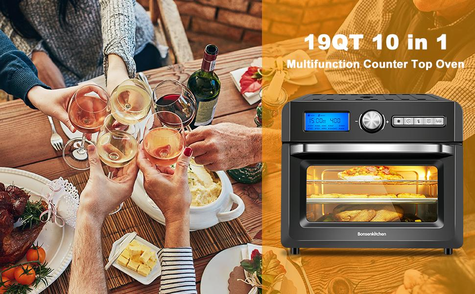 ALL IN ONE,  10 PRESETS TOASTER AIR FRYER OVEN