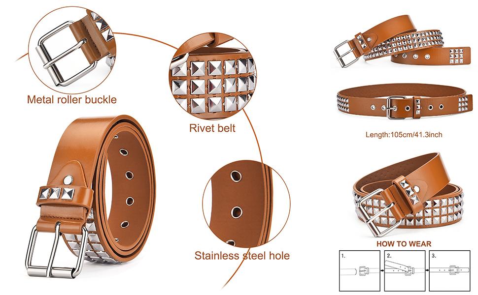 Avitalk Women's Faux Leather Belt Stylish Durable Belt for Jeans Dress