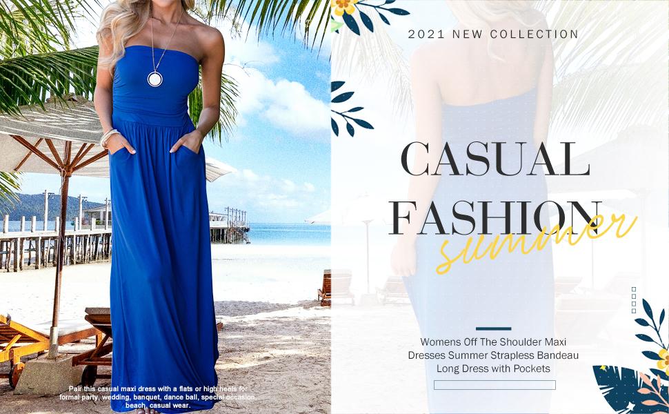 Bandeau Long Dress with Pockets