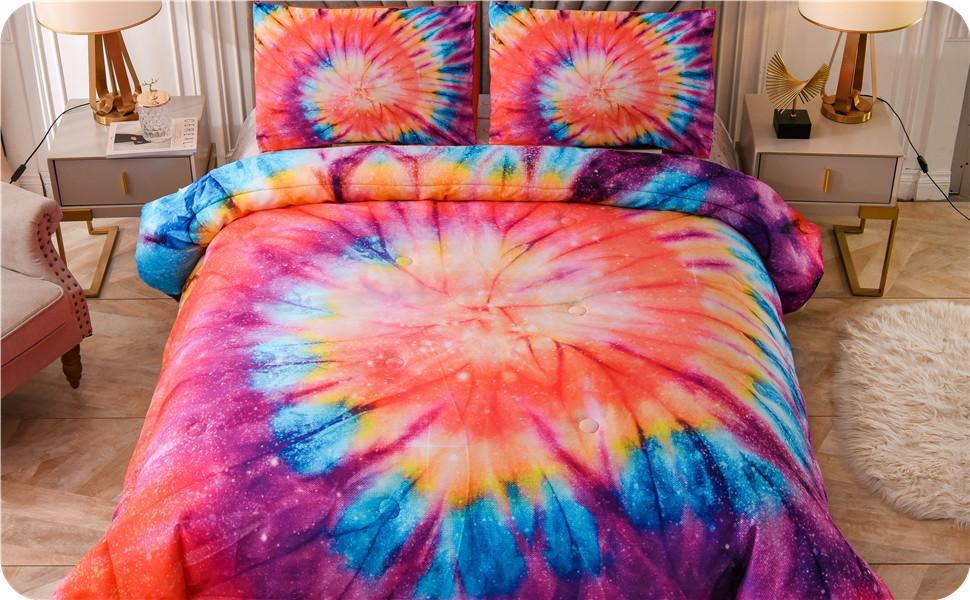 Tie dye comforter orange