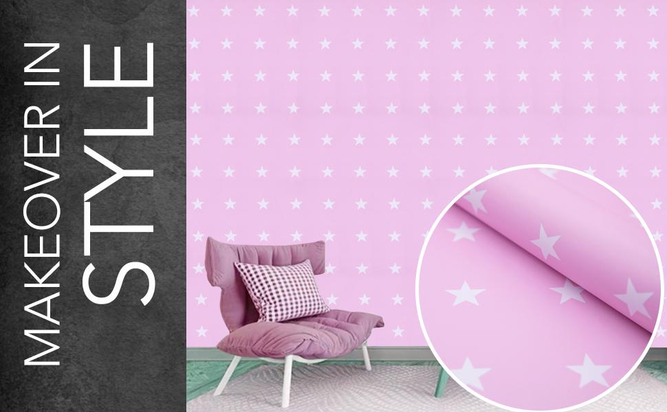 wall stickers, wallpaper, self adhesive, decals, DIY, pink stars, kids room, home decorative