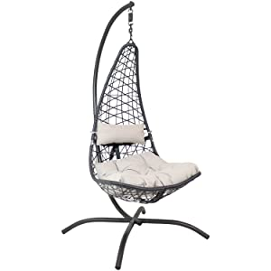 Sunnydaze Phoebe Chair with Stand - Gray Cushions