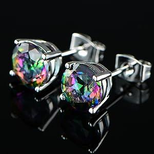 6mm round rainbow stud earrings