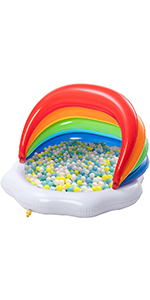 Inflatable Kiddie Pool with Canopy Rainbow