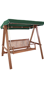 Meranti Wood Outdoor Patio Swing with Canopy