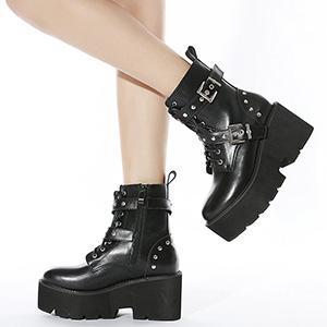 chunky heel ankle booties