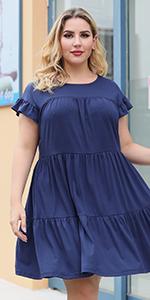 Nemidor Womens Cap Sleeve Plus Size Ruffle Loose Swing Tiered Babydoll Dress