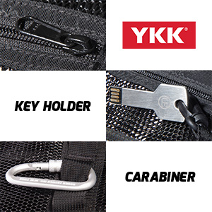 mesh beach bag with sturdy YKK zipper, built-in keyholder and clip on carabiner for functional use