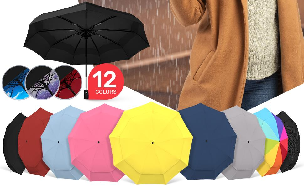 Repel's umbrellas for rain available in 12 different colors